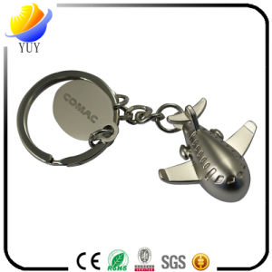 Customized Plane Shape Pearl Plating Metal Zinc Alloy Key Chain pictures & photos