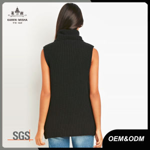 Laides Ribbed Texture Knitted Turtleneck Sleeveless Sweater pictures & photos