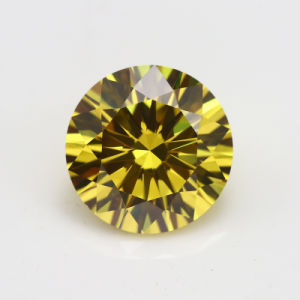 10 Heart 10 Arrow Cutting Round Yellow Cubic Zircon Gemstone pictures & photos