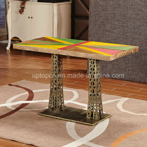 Classical Style Wood Top Restaurant Table with Tower Type Cast Iron Leg (SP-RT547) pictures & photos