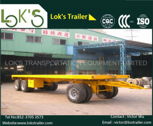 3axles Flatbed Full Trailer (1front+2rear axles with drawbar and turntable) pictures & photos