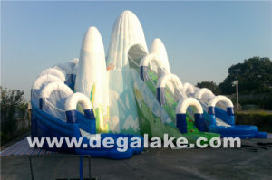 Inflatable Snow Mountain Dual Lane Water Slide with Inner Tube pictures & photos