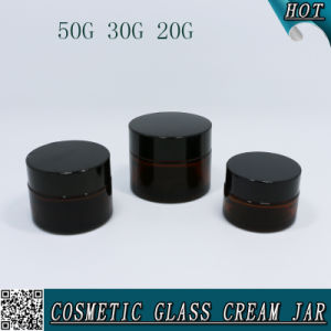20g 30g 50g Amber Cosmetic Glass Face Cream Jar Packaging pictures & photos