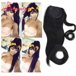 Best Quality Remy Human Hair Extension Silky Straight Ponytail pictures & photos