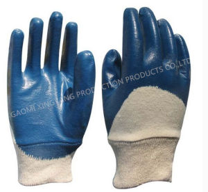 Cotton Natrile Coated Labor Protective Safety Work Gloves (N6034) pictures & photos