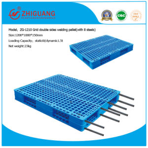 Warehouse Products Pallet 1200*1000*150mm Grid Double Sides Heavy Duty Plastic Tray for 1.5t Shelf Racking with 8 Steel (ZG-1210 8 steels) pictures & photos