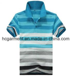 Men′s T-Shirt, Cotton Blue Color Strip Polo for Man pictures & photos