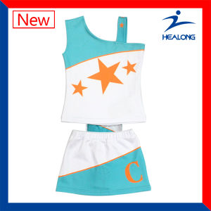 Healong Hot Digitally Printed Wholesale Cheerleading Uniforms with Skirt pictures & photos