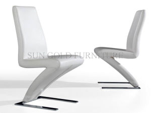 China white leather z shape dining chairs sz dc002 for Z shaped dining chair