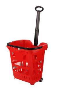 New Type Plastic Shopping Basket with Wheels pictures & photos