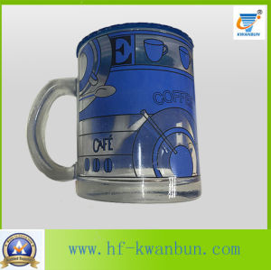 Golden Hot Sale Tea Coffee Glass Mug with Decal Tableware pictures & photos