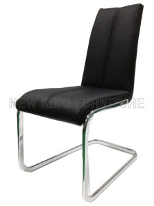 Modern Luxurious Chrome Steel Foot PU Leather Dining Chair (NK-DC084)