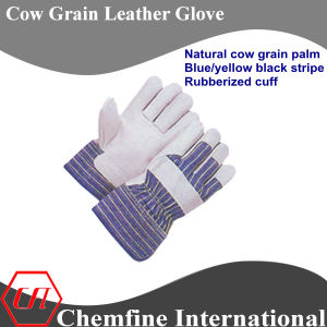 Natural Cow Grain Palm, Blue/Yellow. Black Stripe, Rubberized Cuff Leather Work Gloves pictures & photos