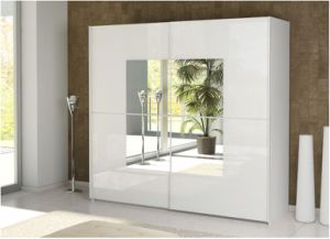 Bedroom Furniture Glass with White High Glossy Lacquer Wardrobe pictures & photos