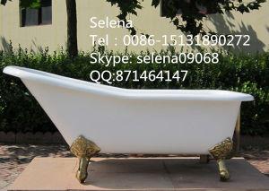 White Color Freestanding Slipper Cast Iron Baths Sw-1008