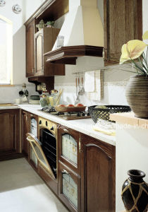 Modular Customize Dark Wood Color Solid Wood Kitchen Cabinet pictures & photos