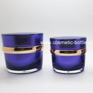 Empty Gold Shiny Cream Acrylic Jars 50ml (FA-03)