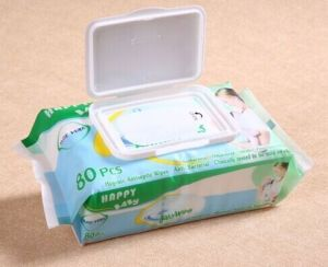 80CT Baby Hand and Mouth Soft Nonwoven Wet Wipes with Plastic Lid pictures & photos