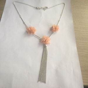 Three Fabric/Cotton Flower Necklace with Metal Tassel Jewelry