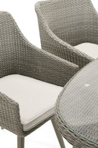 Well Furnir T-015 100% Polyester Shower Resistant Fabric Seat Pads All Weather Rattan Dining Set pictures & photos