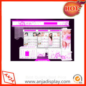 Cosmetic Shop Wooden Wall Shelf Design