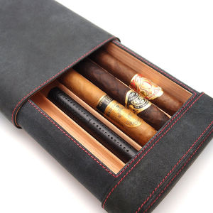 Travel Cigar Humidor Box Great Carry Along - Authentic Soft Cow Leather (Black) pictures & photos