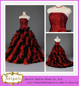 Custom Made Organza Sequins Beaded Ball Gown Red Black Quinceanera Dresses (SR32)