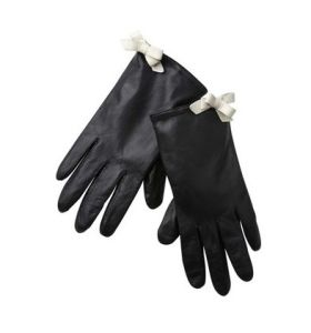 Dressing Leather Glove with White Mini Bow (SW001)