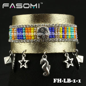 Newest Fashion Jewelry Beaded Leather Bracelet
