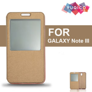 PU Flip Leather Mobile Phone Cover Case with Front View Window for Samsung