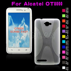 Fashionable X Line Design Rubber Soft TPU Case for Alcatel Ot8000