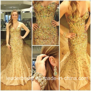 Crystal Prom Party Gowns Gold Beads Celebrity Evening Dresses L1030 pictures & photos