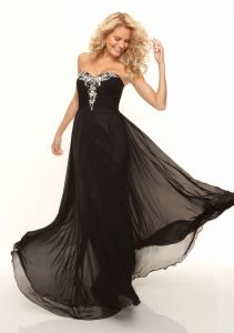 Beaded Chiffon A-Line Black Long Formal Evening Dresses (ED3046) pictures & photos
