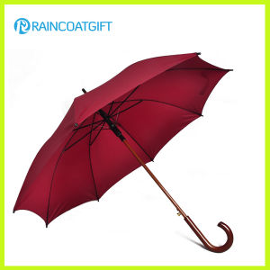 Auto Open Straight Golf Umbrella with Wooden Handle pictures & photos