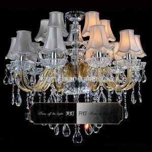 Special Hotel Large Crystal Chandelier Lighting with Fabric Shades pictures & photos
