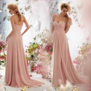Sweetheart a-Line Chiffon Sleeveless Front Short and Long Back Bridesmaid Dresses (MI 3512)
