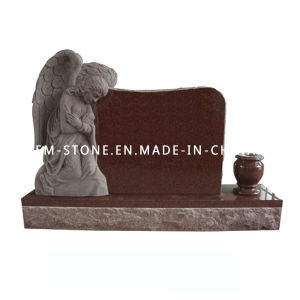 Wholesale Natural Stone Imperial Red Granite Carving Angel Tombstone Monument pictures & photos