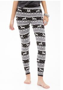 Fair Isle Deer Pattern Leggings with Elasticized Waist pictures & photos