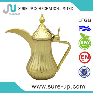 Single Wall Stainless Steel Gold Painted Dallah Arabic Coffee Pot pictures & photos