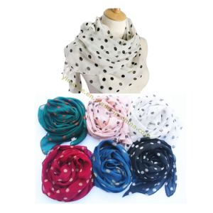 Fashion Polka Dots Chiffon Scarf pictures & photos