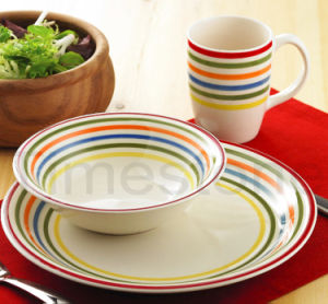 Stoneware 12PCS Handpainted Stripes Dinner Set (TM7516) pictures & photos