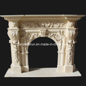 Marble Flower Leaf Carving Fireplace (FRP516) pictures & photos