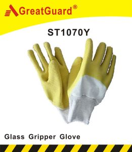 Glass Gripper Latex Dipped Glove (ST1070Y) pictures & photos