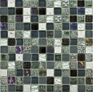 Painted Stone & Crystal Mix Glass Mosaic Tile (M8PTb21)