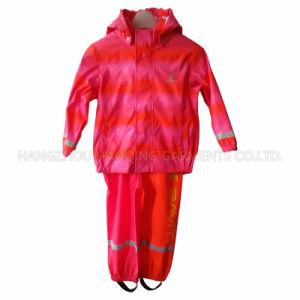 Stripe PU Raincoat for Children pictures & photos