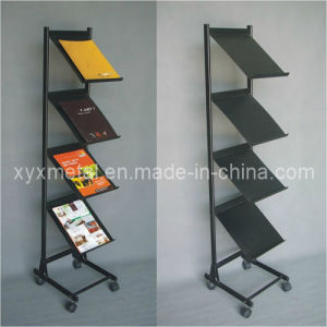 Moveable Stand Metal Magazine Book Display Shelf pictures & photos