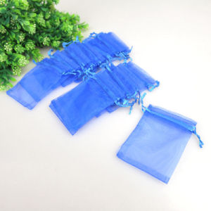 Blue Organza Drawstring Gift Pouches pictures & photos
