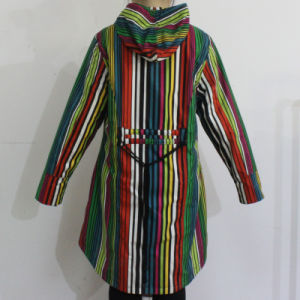 Colourful Stripe Hooded PVC Raincoat for Woman pictures & photos