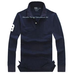 100% Cotton Men′s Long Sleeve Polo Shirt with Applique Logo pictures & photos