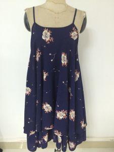 Spring/Summer 2016 New Korean Strap Loose Floral Print Chiffon Dress
